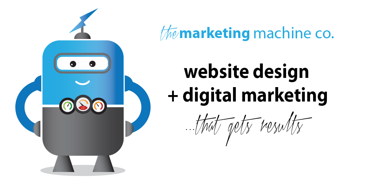 WEB DESIGN COMPANY Jackson MI by The Marketing Machine Co. Blue marketing machine robot with dashboard chest and helicopter head