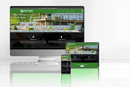 Gee Farms Irrigation & Landscaping Stockbridge MI website mockup by The Marketing Machine Co. Jackson MI