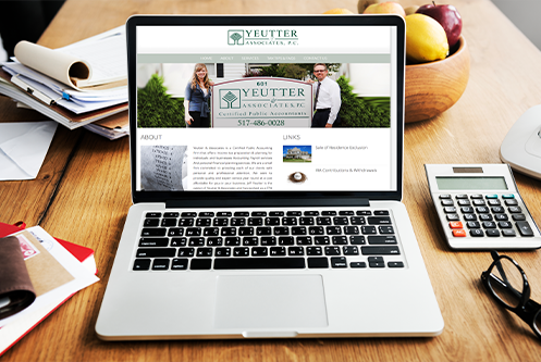 Yeutter & Associates Blissfield MI website mockup by The Marketing Machine Co. Jackson MI